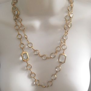 Jewelry - Super Long Crystal Gold Tone Necklace